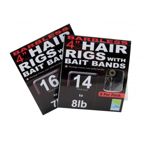 "BAS DE LIGNE CHEVEUX PRESTON BARBLESS 4"" HAIR RIGS"
