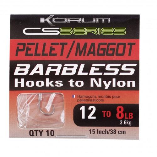HAMECONS KORUM BARBLESS HOOKS TO NYLON PELLET/MAGGOT